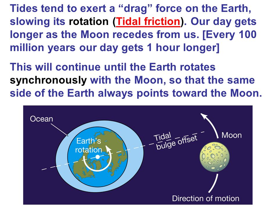 Tides tend to exert a drag force on the Earth, slowing its rotation (Tidal friction). Our day gets longer as the Moon recedes from us. [Every 100 million years our day gets 1 hour longer]